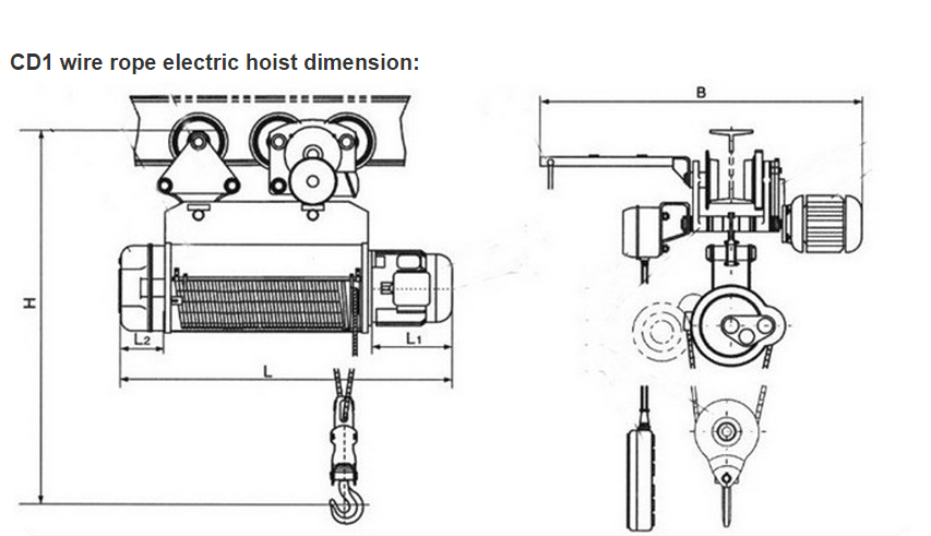 Electric wire rope hoist drawing