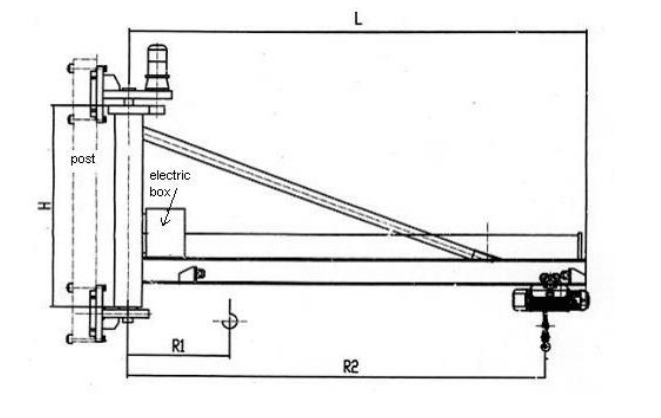 Sketch of BX Type wall mounted jib crane